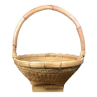 Vintage Woven Rattan Basket With Bent Bamboo Handle For Sale