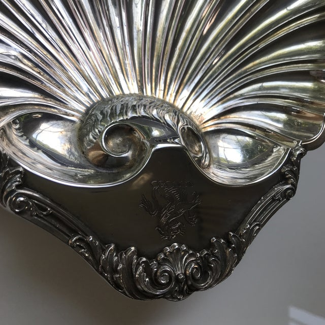 Hollywood Regency 20th Century Regency Silverplate Dolphin Footed Scallop Shell Platter For Sale - Image 3 of 9