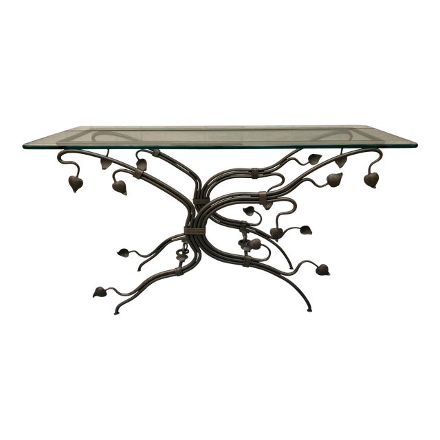 Arts and Crafts Glass Top Iron Console Table For Sale