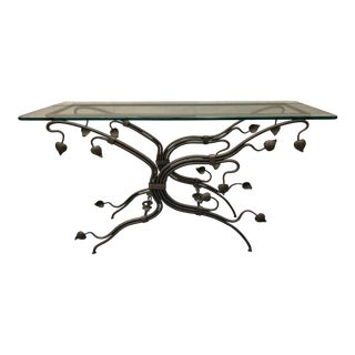 Glass Top Iron Console Table For Sale