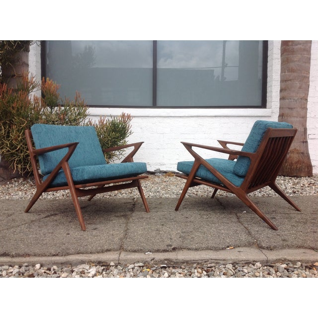 Mid Century Modern Style Z Lounge Chairs - Pair - Image 2 of 5