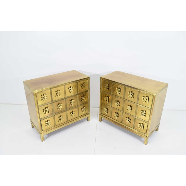 "Mastercraft ""Four Dynasty's"" Brass Veneer Commode Nightstands Chests - a Pair For Sale In Dallas - Image 6 of 13"