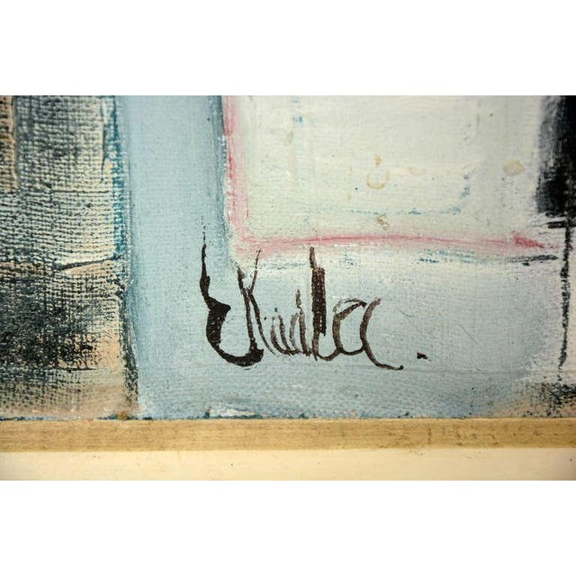 Mid-Century Modern Czech Abstract Oil on Canvas For Sale - Image 3 of 4