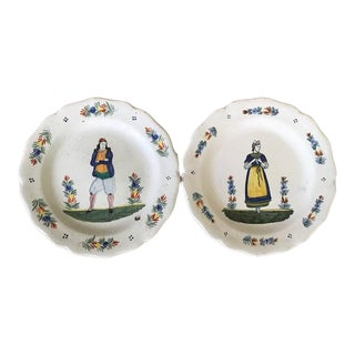 French Faience Quimper Plates Circa 1880s - Set of 2 For Sale