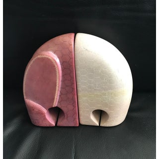 Hand Carved Kenyan African Soapstone Elephant Bookends - a Pair Preview