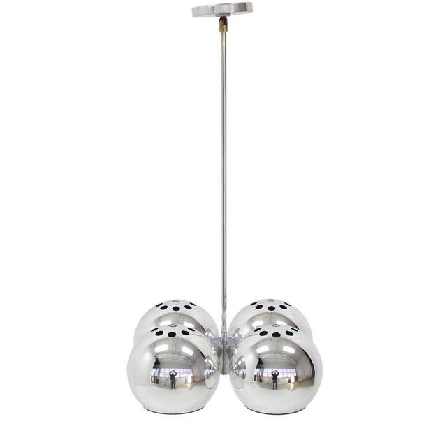 Metal Mid-Century Modern Four Globe Light Fixture Pendant For Sale - Image 7 of 9