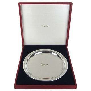 Vintage Cartier Polished Pewter Silver Tray With Original Red Presentation Box For Sale