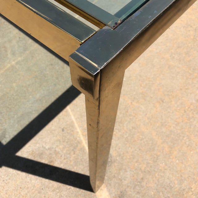 Pierre Cardin Style Folding Brass Glass Dining Table For Sale In Atlanta - Image 6 of 13
