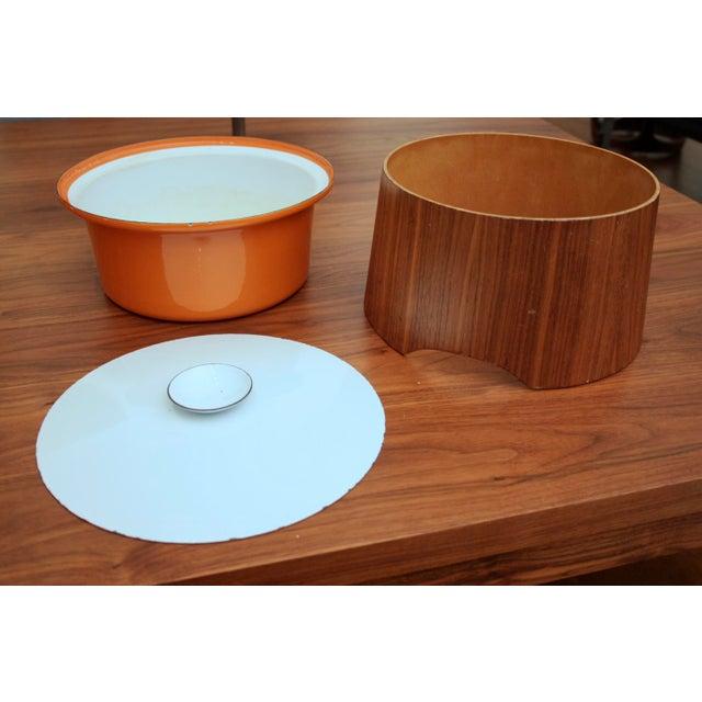 Mid-Century Modern Servex Teak & Enameled Steel Serving Pot/Bowl - 3 Pieces For Sale - Image 3 of 9