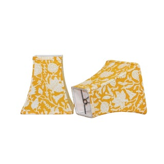 Block Print Yellow Floral Lamp Sconce Shades - a Pair For Sale