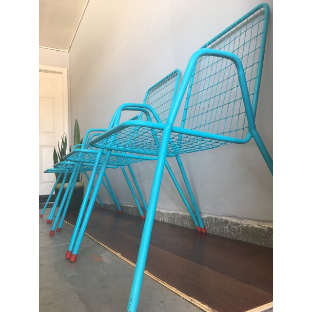 Industrial 1950s Vintage Emu Industrial Metal Aqua Patio Chairs - Set of 4 For Sale - Image 3 of 13