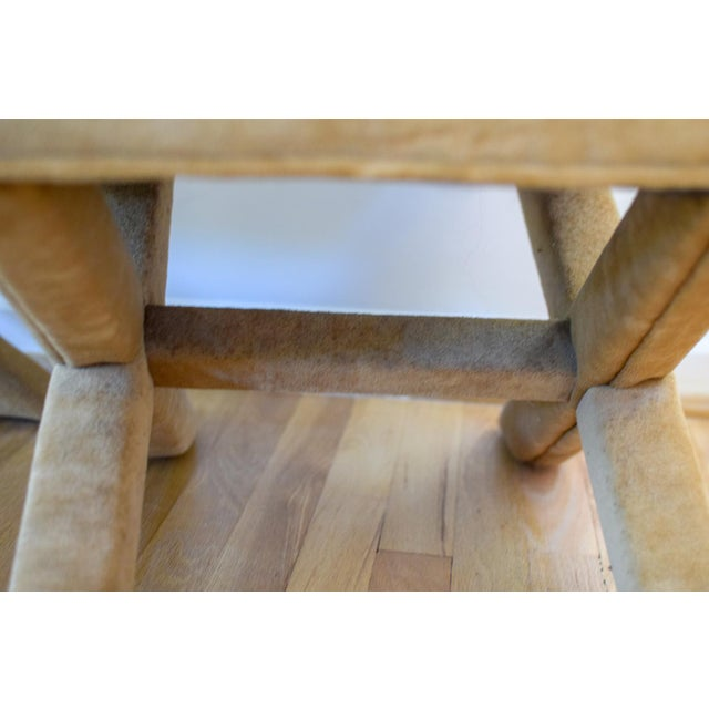 """Mohair Vintage Mid Century Tan Mohair """"X"""" Benches- A Pair For Sale - Image 7 of 12"""