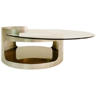 Round Coffee Table With Two Trays in Smoked Glass by Francois Monnet for Kappa For Sale