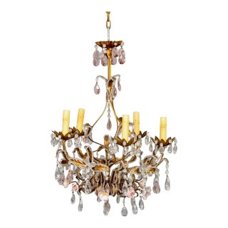 French Five Light Gilt Metal and Crystal Chandelier With Porcelain Roses For Sale