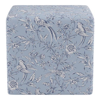 Cube Ottoman in Blue Aviary By Scalamandre For Sale