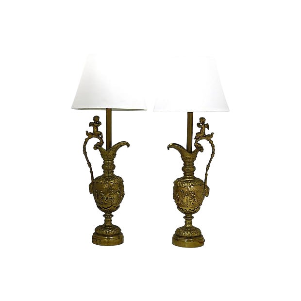 French Brass Cherub Lamps - a Pair For Sale