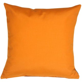Contemporary Sunbrella Tangerine Orange Outdoor Pillow - 20x20 For Sale