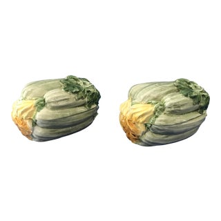 Italian Art Pottery Trompe L'oeil Flowering Zucchini Covered Serving Dishes - a Pair For Sale