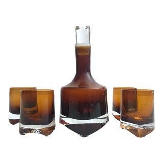Vintage Mid Century Scandinavian Modern Denby Milnor Sweden Topaz Tobacco Brown Hand Blown Crystal Cubist Decanter & Glasses Set For Sale