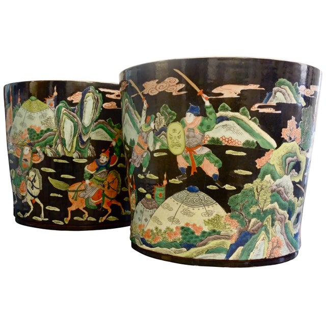Ceramic Amazing Rare Pair of Large Chinese Warrior Planters For Sale - Image 7 of 7