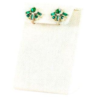 Vintage Coro Dainty Emerald Fan Clip On Earrings For Sale