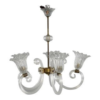 Ercole Barovier Art Deco Clear Blown Glass Chandelier With Brass Fittings