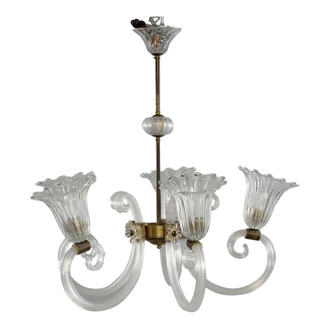 Ercole Barovier Art Deco Clear Blown Glass Chandelier With Brass Fittings For Sale