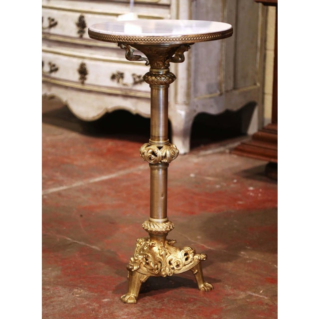 19th Century French Empire Bronze Doré and Marble Side Pedestal Table For Sale In Dallas - Image 6 of 6