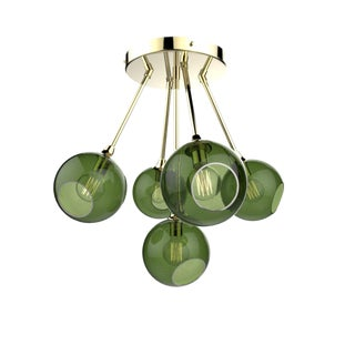 Ballroom Molecule Chandelier - Green / Gold For Sale