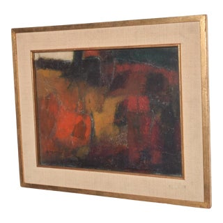 Mid Century Modern Abstract Oil Painting Art After Leonardo Nierman For Sale