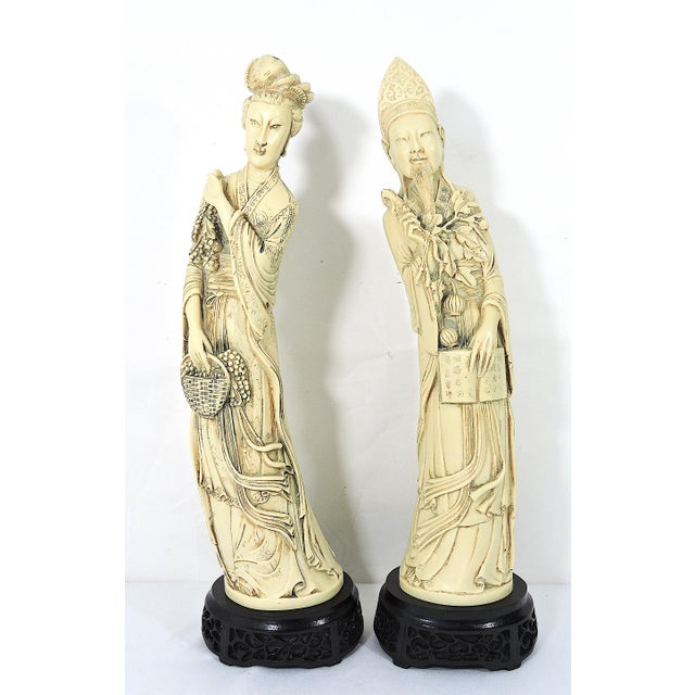 Vintage Ivory Coloured Chinese Nobles, Statues or Figures on Stands - a Pair For Sale - Image 9 of 10