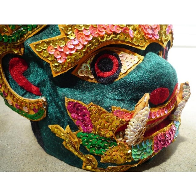 Vintage Thai theatre or ceremonial mask embellished with sequins and appliques. Local Pickup is available ONLY during...
