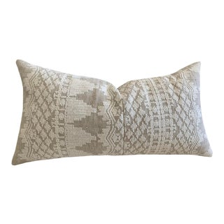 Schumacher Embroidered Linen Lumbar Pillow For Sale