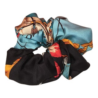 Hermes Handmade Vintage Silk Scarf Scrunchie in Blue, Black and Gold Print For Sale