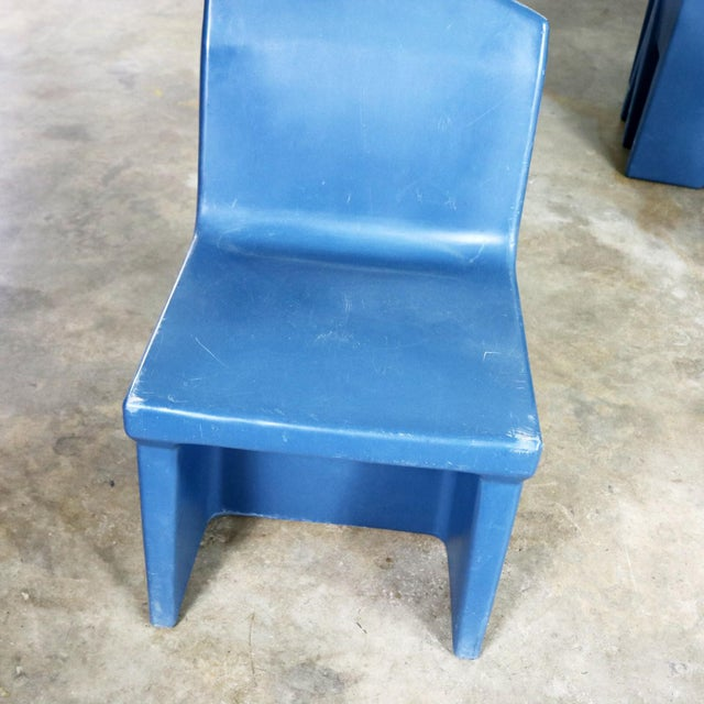Blue Molded Plastic Side or Slipper Chairs by Norix Set of Eight For Sale - Image 12 of 13