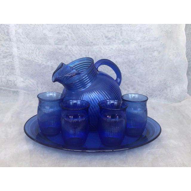Vintage Cobalt Blue Glass Lemonade Set- 6 Pieces For Sale - Image 9 of 13