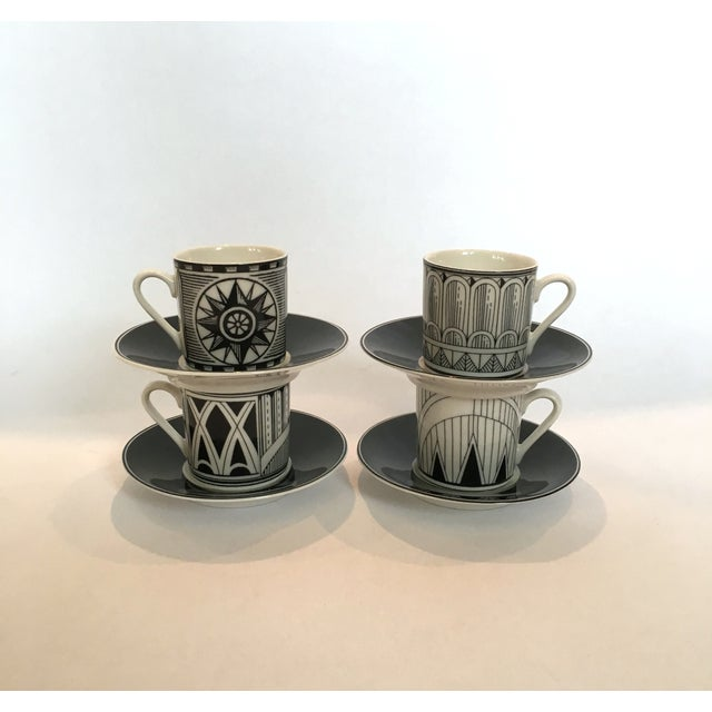 Deco-Style Espresso Cups & Saucers - Set of 4 - Image 2 of 4