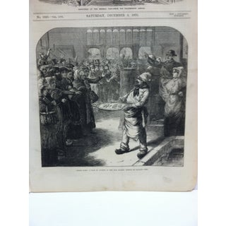 """1870s Antique """"Inside Paris: A Sale by Auction in the Fish Market"""" The Illustrated London News Print Preview"""