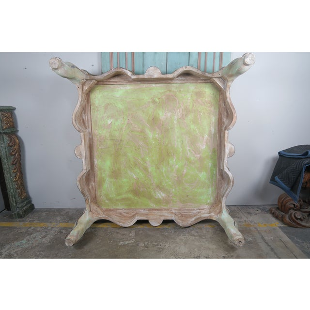 Monumental Square Scalloped French Painted Coffee Table For Sale - Image 11 of 11