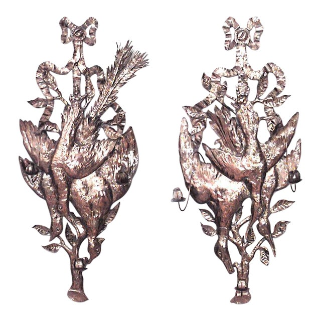 Rustic German Style Brass Hammered Three-Arm Wall Sconces - a Pair For Sale
