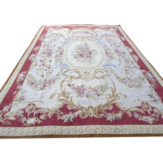 1980s, Handmade Vintage French Aubusson Rug 8.10' X 12.4' For Sale