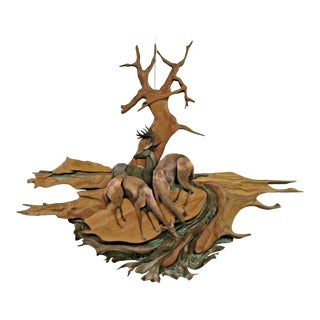 Late 20th Century Cut Mixed Metal and Wood Sculpture Signed Wall Art Deer by Stream Nature Forest For Sale