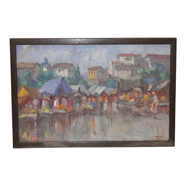 Vintage Impressionist Oil Painting by Gabetto For Sale