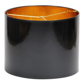Large Black High Gloss Drum Lamp Shade With Gold Lining For Sale