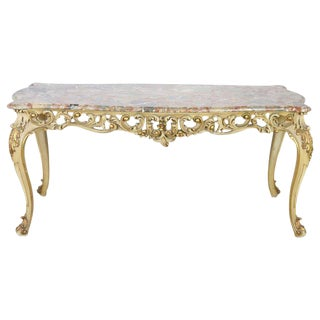 20th Century Italian Baroque Style Carved Lacquered Gilded Wood Dining Table For Sale