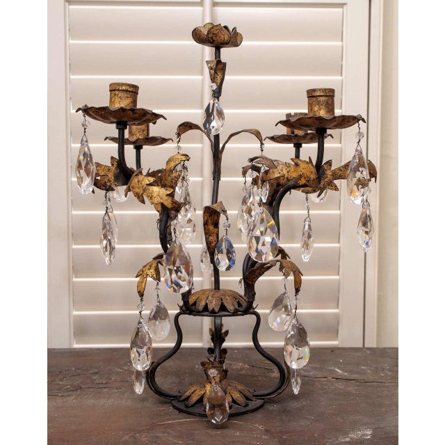 Italian Pair of Gilt Iron and Crystal Girandoles For Sale - Image 3 of 8