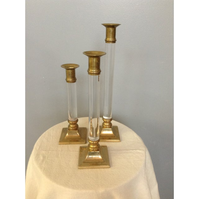 Lucite & Brass Candlesticks - Set of 3 For Sale - Image 5 of 5
