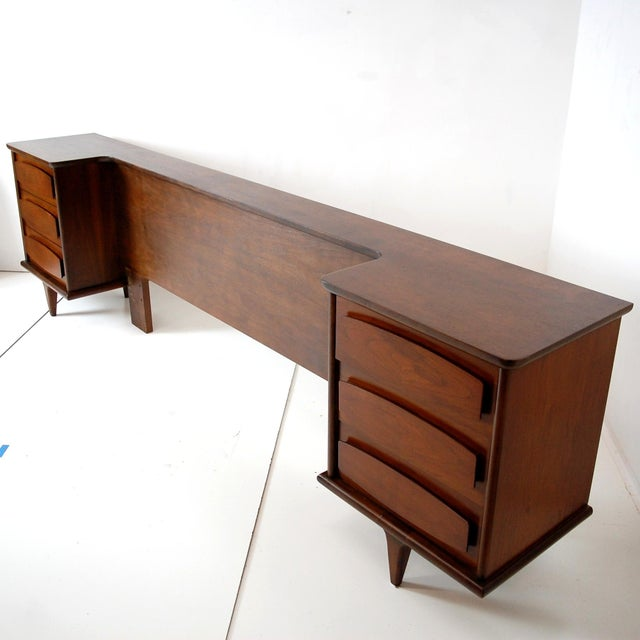 Mid-Century Modern Teak Headboard With Nightstands For Sale - Image 9 of 10