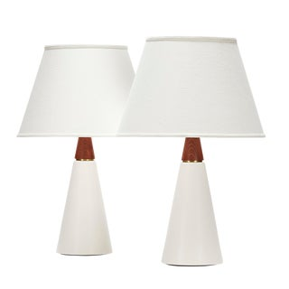 Wyatt Lamp in White Quartz Glaze With Sapele Cap - a Pair For Sale