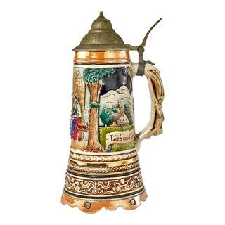 """Vintage Musical German Beer Stein - """"Lieb Und Lied Einfroh Gemut"""" For Sale"""